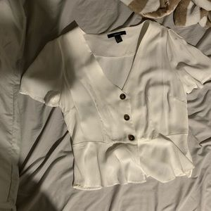 forever 21 white, button-up blouse